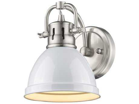 Golden Lighting Duncan Pewter Wall Sconce with White Shade
