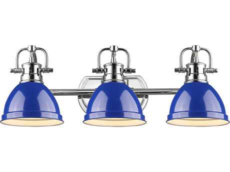 Golden Lighting Duncan Chrome Three-Light Vanity Light with Blue Shade