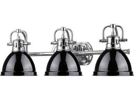 Golden Lighting Duncan Chrome Three-Light Vanity Light with Black Shade