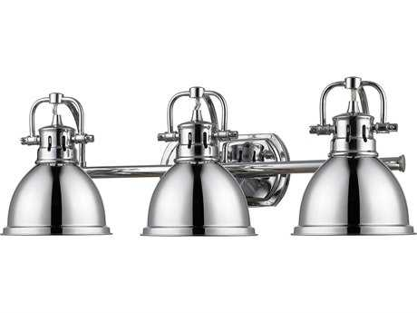 Golden Lighting Duncan Chrome Three-Light Vanity Light with Chrome