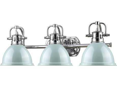 Golden Lighting Duncan Chrome Three-Light Vanity Light with Seafoam