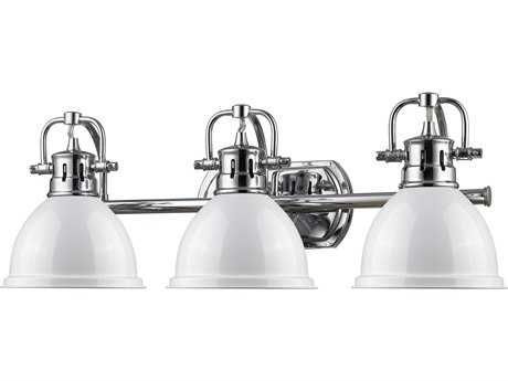 Golden Lighting Duncan Chrome Three-Light Vanity Light with White Shade