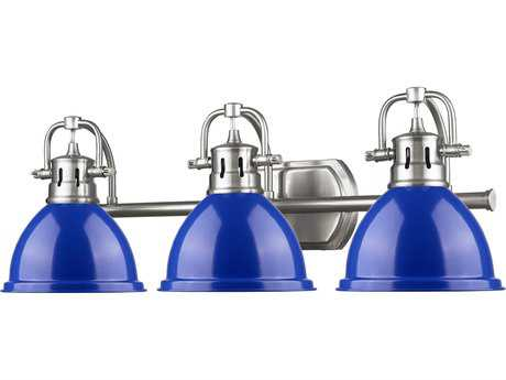 Golden Lighting Duncan Pewter Three-Light Vanity Light with Blue Shade