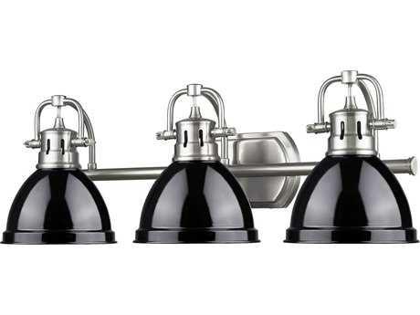 Golden Lighting Duncan Pewter Three-Light Vanity Light with Black Shade