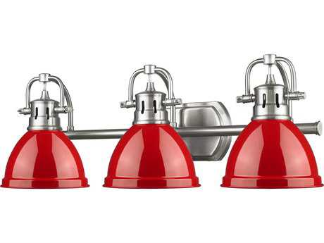 Golden Lighting Duncan Pewter Three-Light Vanity Light with Red Shade
