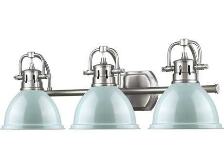 Golden Lighting Duncan Pewter Three-Light Vanity Light with Seafoam