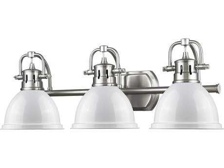 Golden Lighting Duncan Pewter Three-Light Vanity Light with White Shade