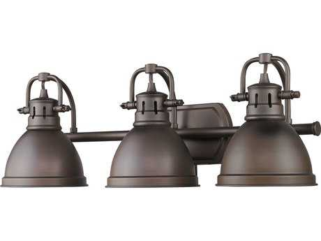Golden Lighting Duncan Rubbed Bronze Three-Light Vanity Light with Rubbed Bronze
