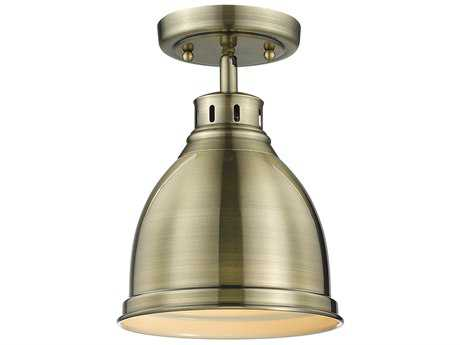 Golden Lighting Duncan Aged Brass 8.88'' Wide Convertible Semi-Flush Mount/Pendant Ceiling Light with Aged Brass Shade