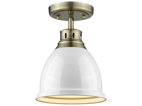 Golden Lighting Duncan Aged Brass 8.88'' Wide Convertible Semi-Flush Mount/Pendant Ceiling Light with White Shade