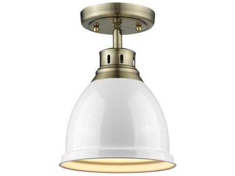 Golden Lighting Duncan Aged Brass 8.88'' Wide Convertible Semi-Flush Mount/Pendant Ceiling Light with White Shade