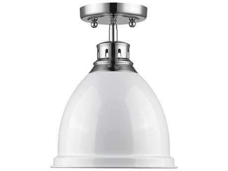 Golden Lighting Duncan Chrome 8.88'' Wide Flush Mount Ceiling Light with White Shade