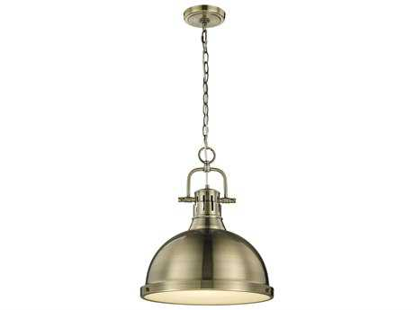 Golden Lighting Duncan Aged Brass 14'' Wide Pendant Ceiling Light with Aged Brass