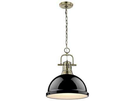 Golden Lighting Duncan Aged Brass 14'' Wide Pendant Ceiling Light with Black