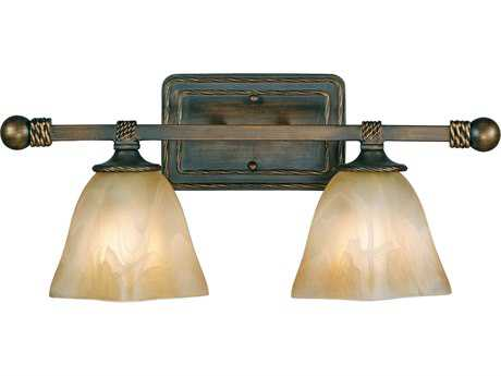 Golden Lighting Meridian Golden Bronze Two-Light Vanity Light with Antique Marbled Glass