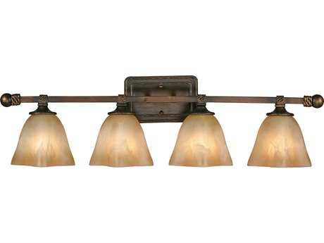 Golden Lighting Meridian Golden Bronze Four-Light Vanity Light with Antique Marbled Glass