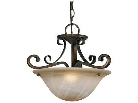 Golden Lighting Meridian Golden Bronze Three-Light 15.75'' Wide Convertible Pendant / Semi-Flush Mount Light with Antique Marbled Glass