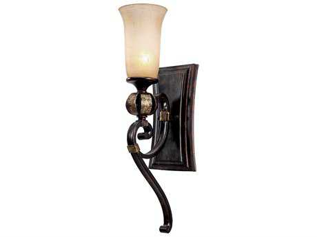 Golden Lighting Portland Fired Bronze Wall Sconce with Birch Glass