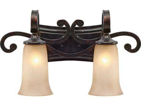 Golden Lighting Portland Fired Bronze Two-Light Vanity Light with Birch Glass