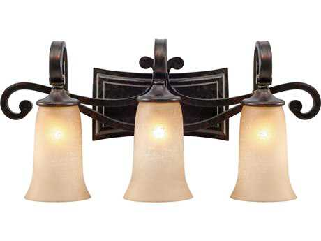 Golden Lighting Portland Fired Bronze Three-Light Vanity Light with Birch Glass