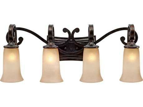 Golden Lighting Portland Fired Bronze Four-Light Vanity Light with Birch Glass