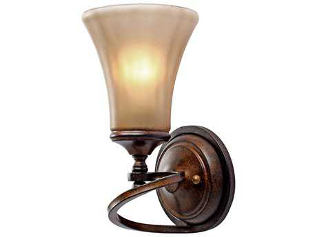 Golden Lighting Loretto Russet Bronze Wall Sconce with Riffled Tannin Glass