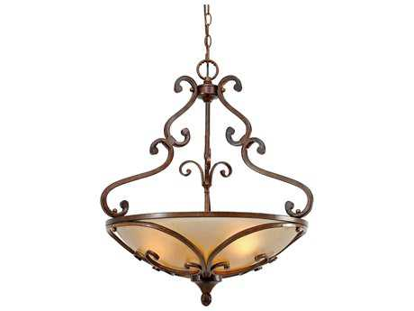 Golden Lighting Loretto Russet Bronze Three-Light 23.25'' Wide Pendant Ceiling Light with Riffled Tannin Glass