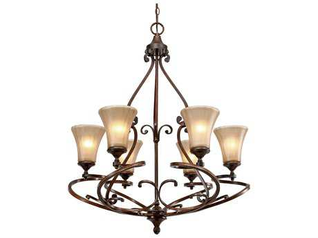 Golden Lighting Loretto Russet Bronze Six-Light 30'' Wide Chandelier with Riffled Tannin Glass