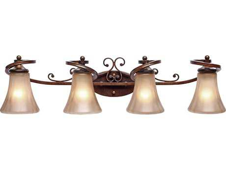 Golden Lighting Loretto Russet Bronze Four-Light Vanity Light with Riffled Tannin Glass