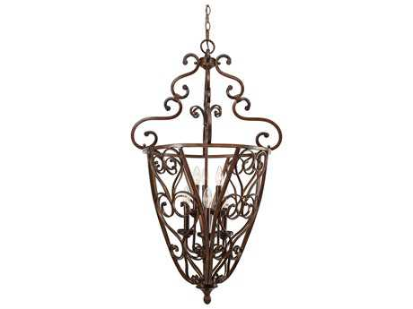 Golden Lighting Loretto Russet Bronze Six-Light 23'' Wide Pendant Ceiling Light with Metal candle sleeves