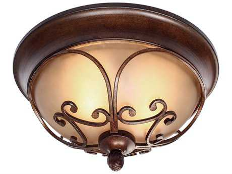 Golden Lighting Loretto Russet Bronze Two-Light 14.5'' Wide Semi-Flush Mount Light with Riffled Tannin Glass