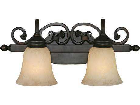 Golden Lighting Belle Meade Rubbed Bronze Two-Light Vanity Light with Tea Stone Glass