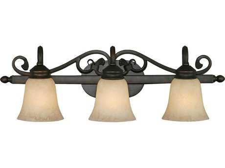 Golden Lighting Belle Meade Rubbed Bronze Three-Light Vanity Light with Tea Stone Glass
