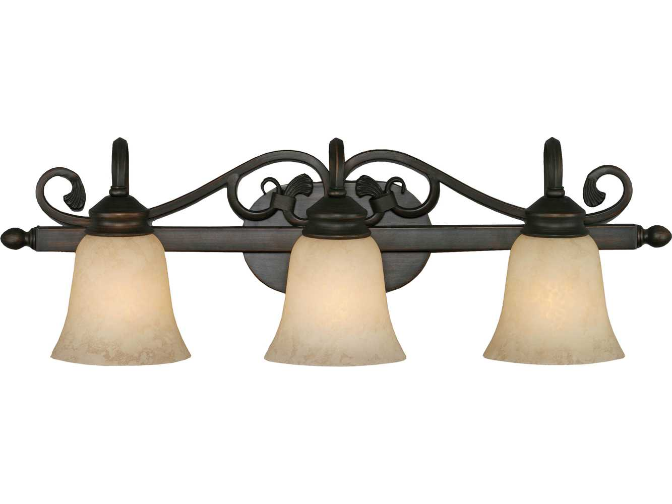 Golden Lighting Belle Meade Rubbed Bronze Three-Light Vanity Light with Tea Stone Glass GO40743RBZ
