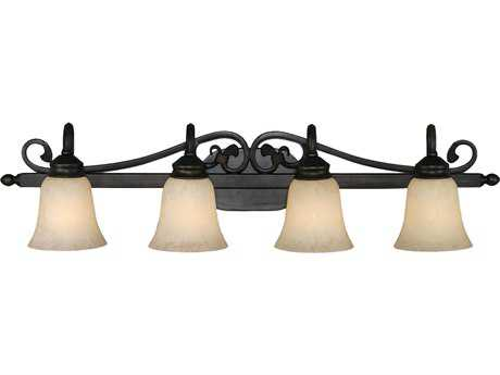 Golden Lighting Belle Meade Rubbed Bronze Four-Light Vanity Light with Tea Stone Glass