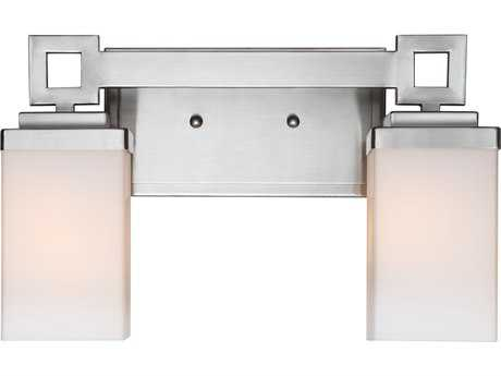 Golden Lighting Nelio Pewter Two-Light Vanity Light with Cased Opal Glass