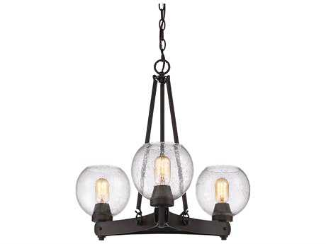 Golden Lighting Galveston Rubbed Bronze Three-Light 24.25'' Wide Mini-Chandelier with Seeded Glass