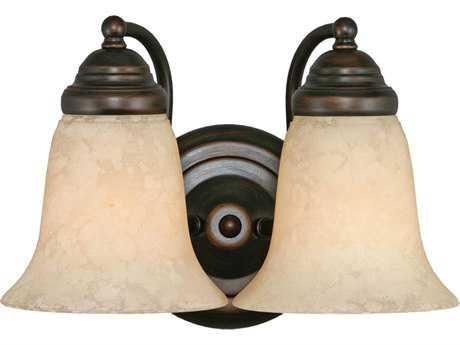 Golden Lighting Centennial Rubbed Bronze Two-Light Vanity Light with Tea Stone Glass