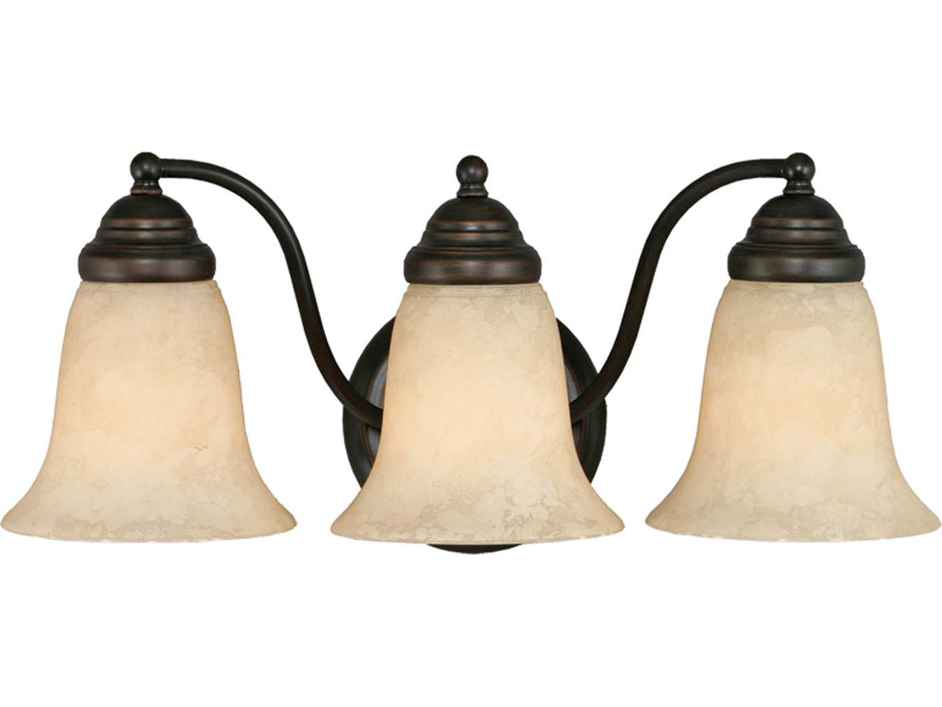 Vanity Lights Stone : Golden Lighting Centennial Rubbed Bronze Three-Light Vanity Light with Tea Stone Glass ...