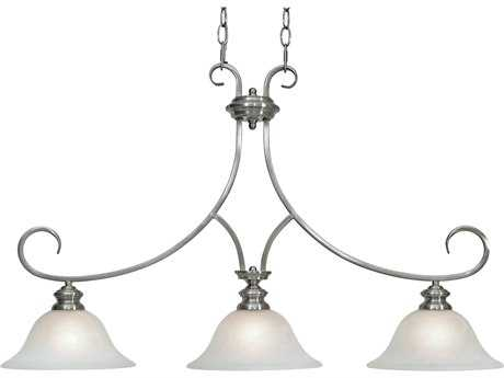 Golden Lighting Lancaster Pewter Three-Light 36'' Wide Island Light with Marbled Glass