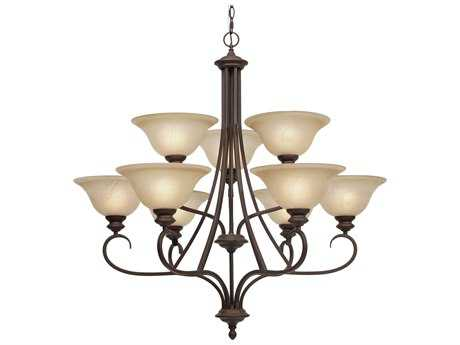 Golden Lighting Lancaster Rubbed Bronze Nine-Light 36'' Wide Chandelier with Antique Marbled Glass