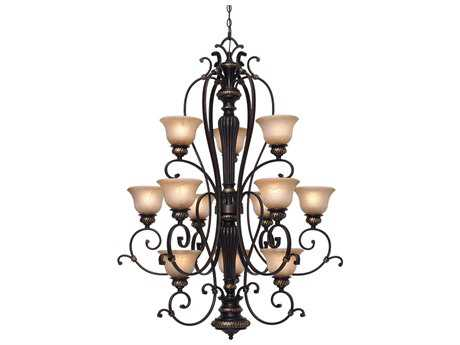 Golden Lighting Jefferson Etruscan Bronze 12-Light 37'' Wide Chandelier with Antique Marbled Glass
