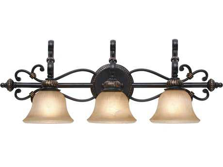 Golden Lighting Jefferson Etruscan Bronze Three-Light Vanity Light with Antique Marbled Glass
