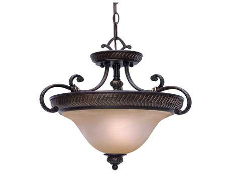 Golden Lighting Jefferson Etruscan Bronze Three-Light 19.5'' Wide Convertible Pendant / Semi-Flush Mount Light with Antique Marbled Glass