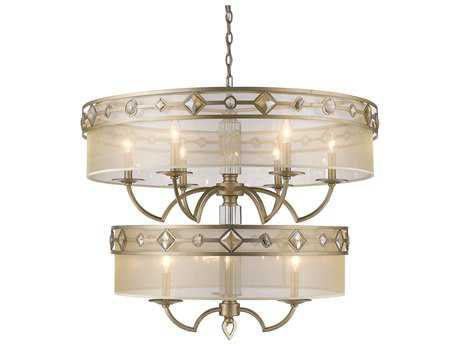 Golden Lighting Coronada White Gold Nine-Light 33'' Wide Chandelier with Filigree Shade / Neutral Crystals
