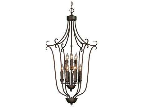 Golden Lighting Multi-Family Rubbed Bronze Nine-Light 20'' Wide Pendant Ceiling Light with Drip Candlesticks
