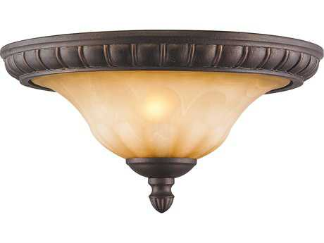 Golden Lighting Mayfair Leather Crackle Two-Light 15'' Wide Semi-Flush Mount Light with Creme Brulee Glass