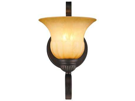 Golden Lighting Mayfair Leather Crackle Wall Sconce with Creme Brulee Glass