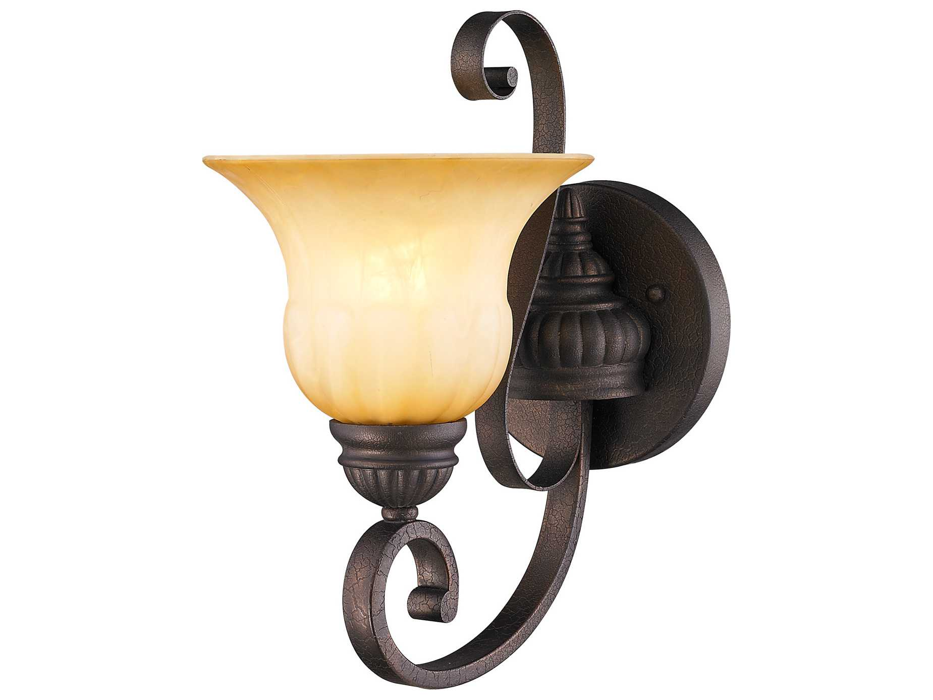 Crackle Glass Wall Sconces : Golden Lighting Mayfair Leather Crackle Wall Sconce with Creme Brulee Glass GO71161WLC