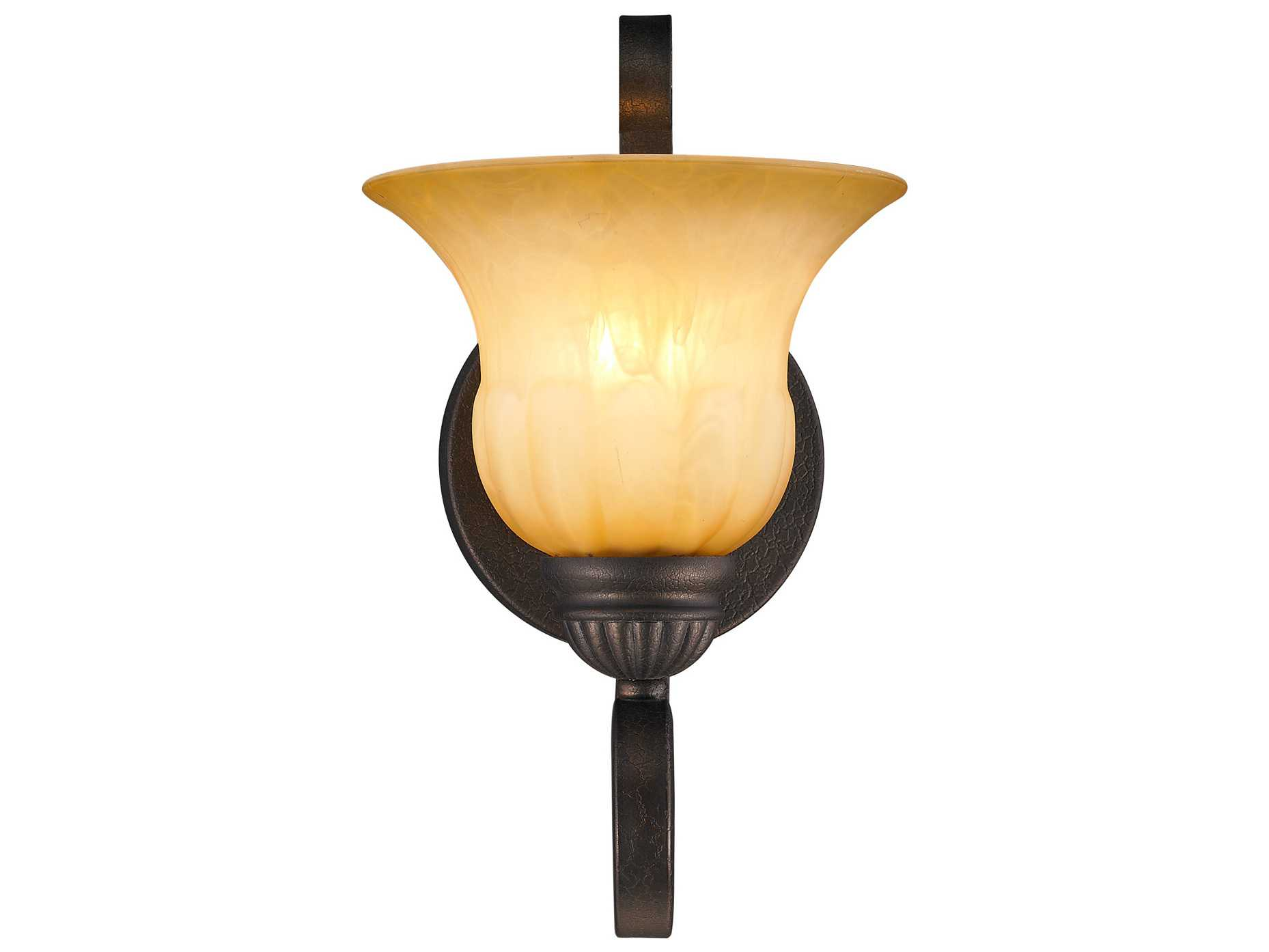 Golden Lighting Mayfair Leather Crackle Wall Sconce with Creme Brulee Glass GO71161WLC